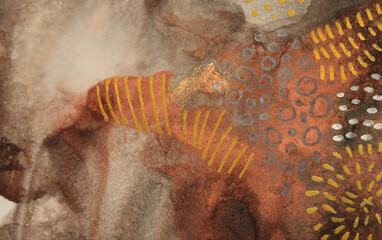 Gold and bronze grunge wall. Abstract painting blots background. Alcohol ink colors. Marble rust texture.