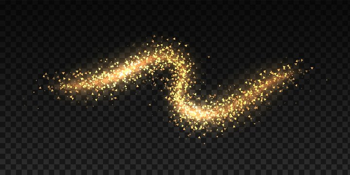 Glittering dust waves. Golden glowing star trail. Curved trace of triangular sparkles on transparent background. Isolated decorative shining wavy line. Yellow shimmer texture, vector twinkle template