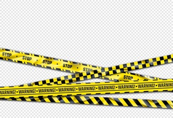 Fototapeta Warning ribbon. Realistic adhesive barricade tape. Black and yellow barrier, stop sign. Crossed caution lines with repeated ornament and stripes. Decorative poster and copy space. Vector police cordon obraz
