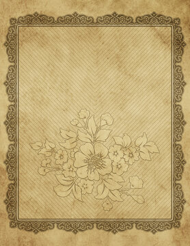 Bad condition paper background with decorative border.