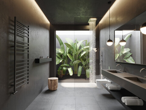 3d dark masculine bathroom with concrete walls and contemporary minimal design with view to palm trees