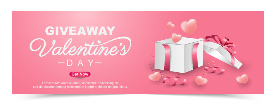 Valentine's day giveaway with realistic gift box banner template design