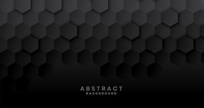 dark black hexagonal background concept design