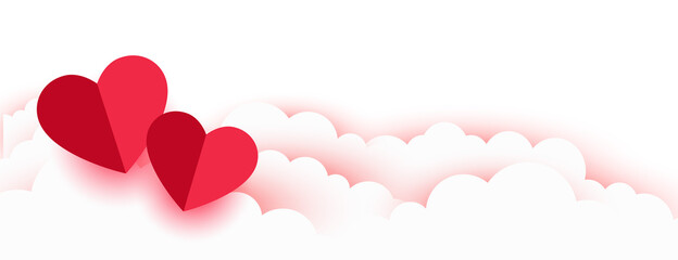 Fototapeta valentines day romantic paper hearts and clouds banner