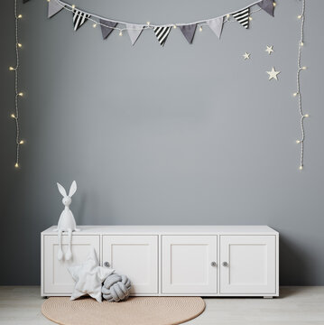 Wall mockup in child room interior. Nursery Interior in scandinavian style. 3d rendering