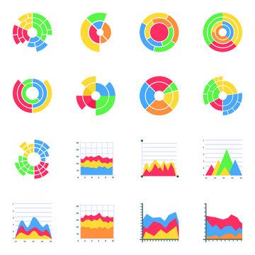 Pack of Sunburst Infographics Flat Icons