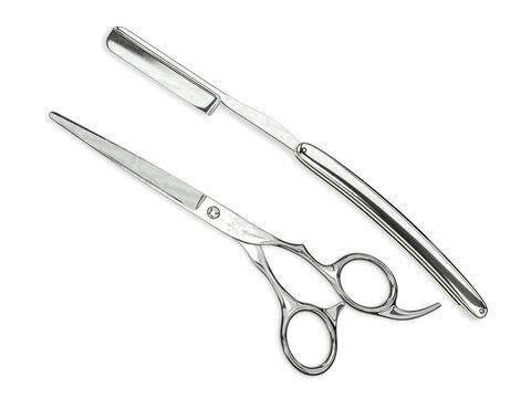 Salon shears with barber straight razor 3d rendering