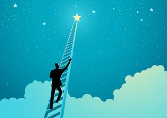 Fototapeta Businessman climbing a ladder to reach out for the stars obraz