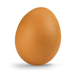 Close up of a chicken egg isolated on white background