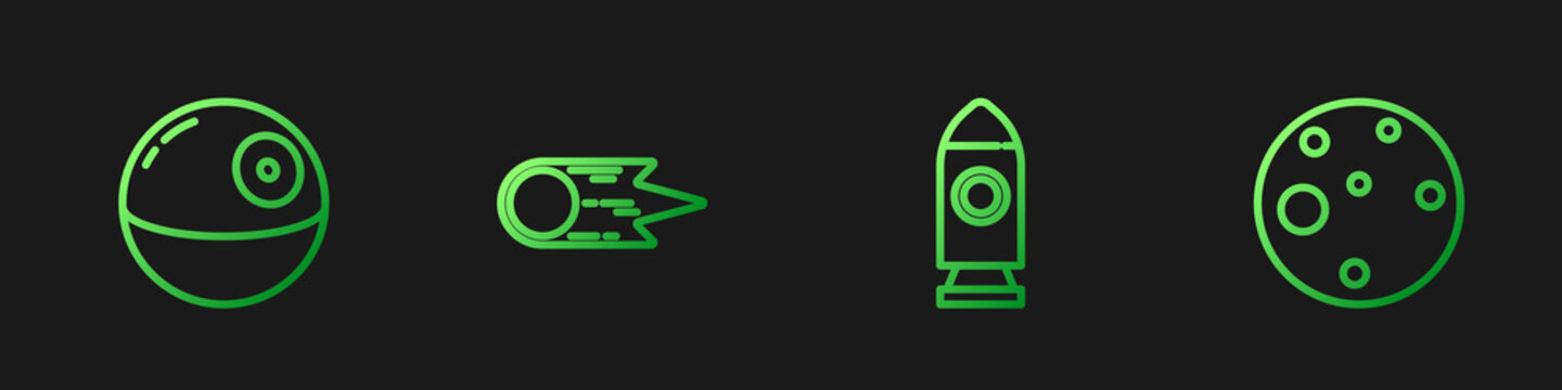 Set line Rocket ship, Death star, Comet falling down fast and Planet Mars. Gradient color icons. Vector.
