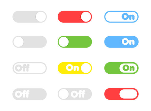 On and Off toggle switch buttons. Different color button set for mobile app and social media. Vector illustration.