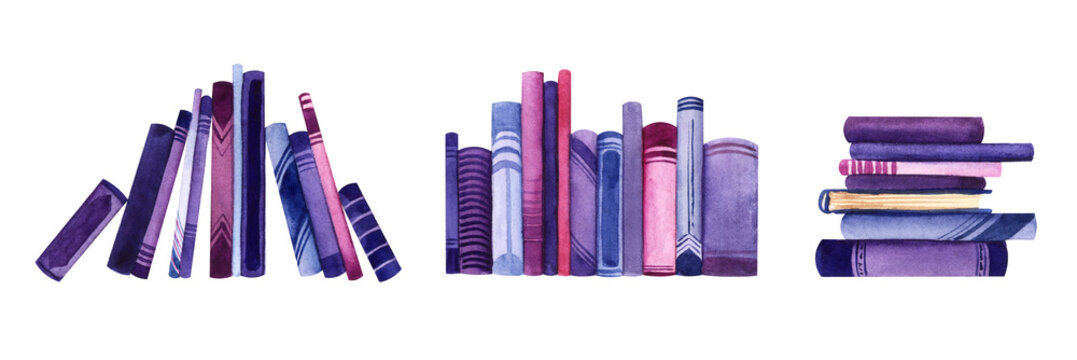 Watercolor set of decorative elements. Piles of books on white background. Colorful book spines. Hand drawn illustration of books leaning on each other, stacked books and orderly row of books