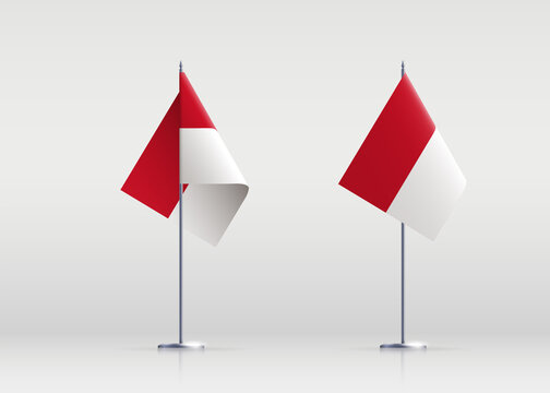 Monaco flag state symbol isolated on background national banner. Greeting card National Independence Day of the Principality of Monaco. Illustration banner with realistic state flag.