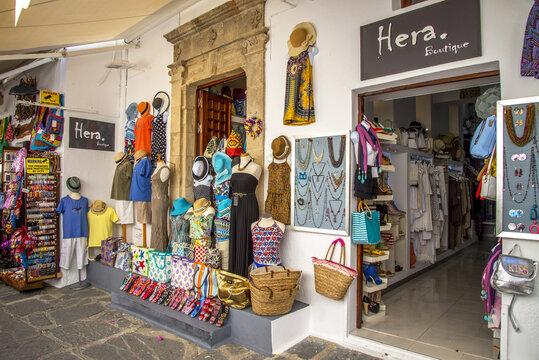 RHODES, GREECE - Apr 02, 2020: Lindos Boutique and Tourist Souvenir Shop