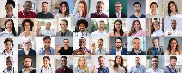 Multicultural Faces Photo Collage. Portrait