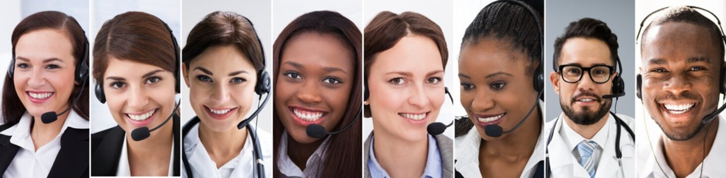 Customer Service Call Center Support Agent Collage