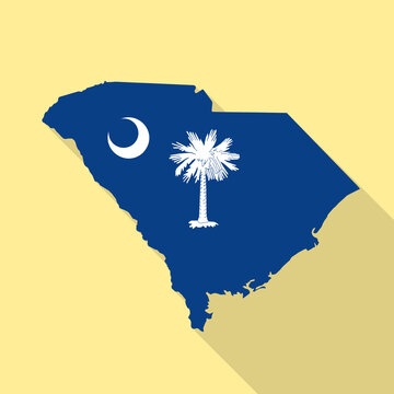 South Carolina flag vector map flat simple style long shadow background. Vector Illustration South Carolina flag map