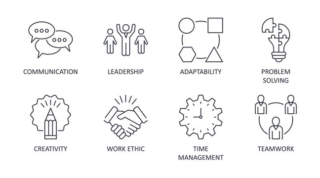 Vector soft skills icons. Editable stroke. Interpersonal attributes symbols succeed in workplace. Communication teamwork adaptability problem solving creativity work ethic time management leadership