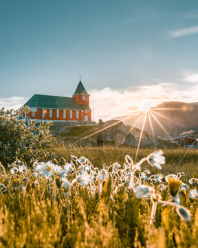 Vertical shot of a Local Church in the Greenlandic settlement of Sisimiut