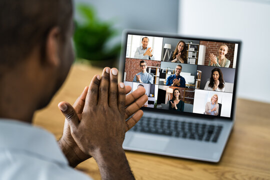 African Clapping In Virtual Video Conference Call