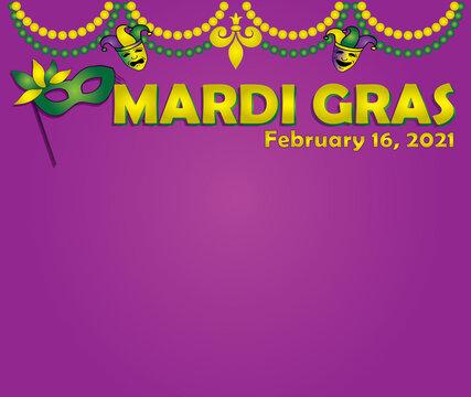 Mardi Gras February 2021 with Purple Background