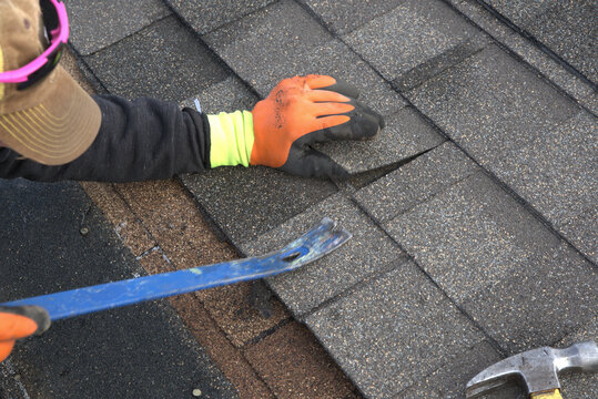 Roofer readies a pry bar as he einspescts a damaged shingle on a residential roof.