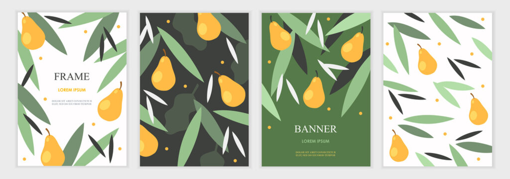 Set of invitation cards. Place for text. Foliage and pears. Green spring garden. Retro design. Flat vector illustration. Templates for banners, flyers, brochures, invitations, covers.