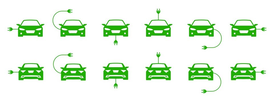 Electro car icons set. Electro car dofferent sides view. Different electric car shaps. Eco transport concept. Eco Logo, symbol & sign. Vector sign. White background. Flat design. Vector graphic.