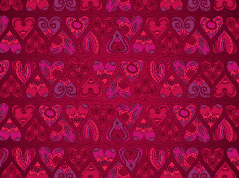 Red background with valentines hearts. Valentines greeting banner. Horizontal holiday background, headers, posters, cards, website. Vector illustration