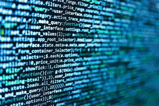 WWW software development. Modern web network and internet telecommunication technology. Abstract information digital technology modern background. Javascript code in bracket software