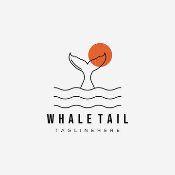 sunset whale tail line art logo vector illustration design. ocean beach symbol