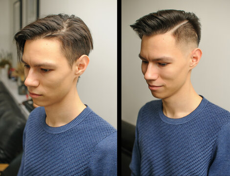 Short haircut on a young man with dark hair, two comparison photos before and after