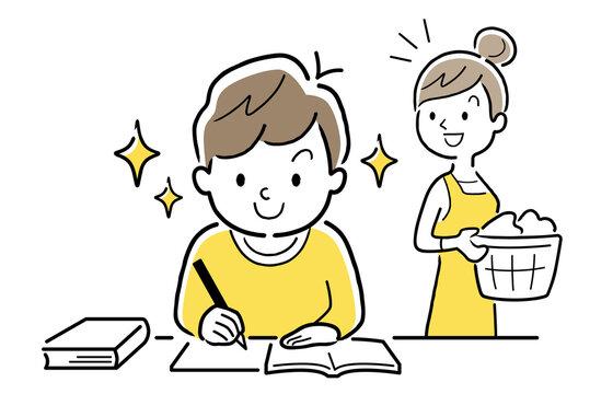 ベクターイラスト素材:進んで勉強する子供に感心する母親