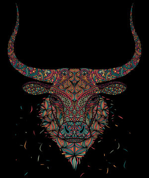 Ox, Mosaic head of a bull on a black background. Doodling zen art style.