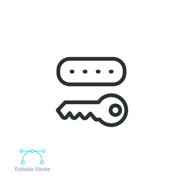 Key token line icon. authentication software device, Cryptosystem security token with Password. lock and key icon. Editable stroke vector illustration design on white background. EPS 10