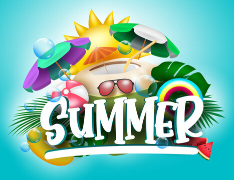 Summer vector banner design. Summer text with tropical season elements like coconut juice, umbrella, floater and beachball for holiday season vacation. Vector illustration