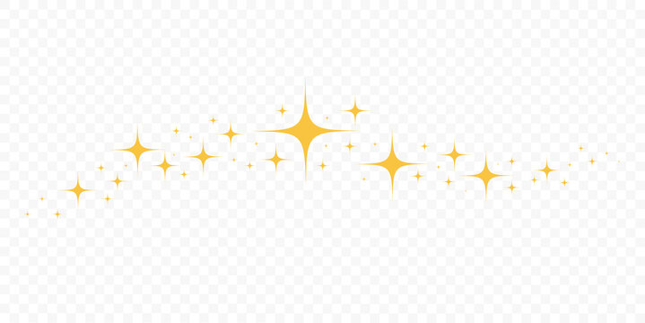 Sparkles Stars icon isolated on transparent background. Falling stars. Decoration element. Vector illustration