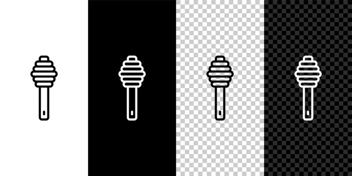 Set line Honey dipper stick icon isolated on black and white,transparent background. Honey ladle. Vector.