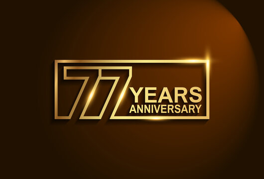 77 years anniversary golden design vector line style in square isolated in brown background can be use for celebration event, greeting card and invitation banner