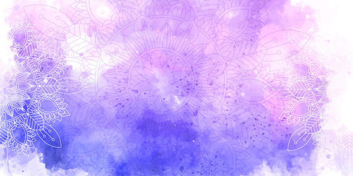 Decorative banner with watercolour texture and mandala design