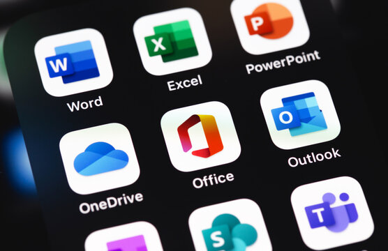 Microsoft Office (Word, Excel, OneDrive, Outlook and other mobile app on the screen iPhone. Microsoft Corporation is an American multinational technology company. Moscow, Russia - December 5, 2020