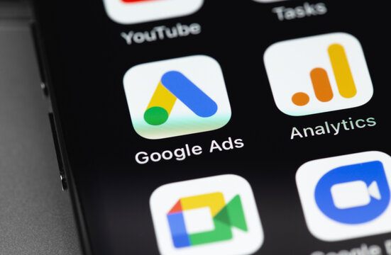 Google Ads AdWords, Analytics apps on the screen iPhone. Google Ads is a contextual service, mainly search advertising from Google. Moscow, Russia - December 5, 2020