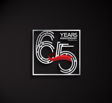 65 years anniversary logotype with square silver color and red ribbon can be use for special moment and celebration event
