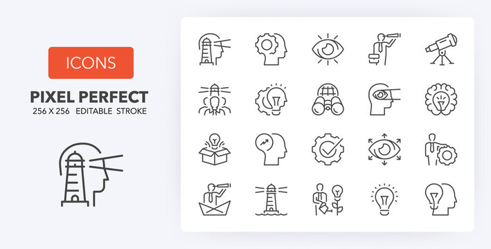 vision innovation line icons 256 x 256