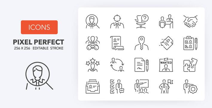 hiring process line icons 256 x 256