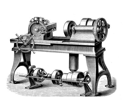 Bolt cutter machine with turret head allows cutting operations to be performed, sequentially each with a different cutting tool, 19th century engraving