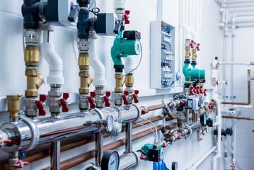 Fototapeta Boiler room equipment for modern heating system obraz