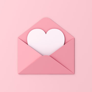 Sweet blank heart card in pink envelope isolated on pink pastel color wall background with shadow love letter minimal conceptual 3D rendering