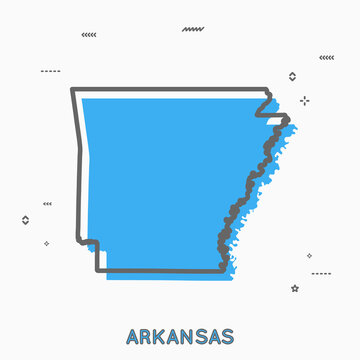 Arkansas map in thin line style. Arkansas infographic map icon with small thin line geometric figures. Arkansas state. Vector illustration linear modern concept