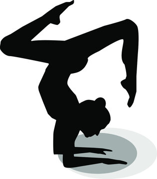 a woman is doing yoga, Adho Mukha Vrksasana ,black and white yoga icon, sport, spirtual exercise, pose, healthy life style